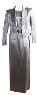 Giorgio Armani Giorgio Armani Gray Silver Wool Silk Full Length 2pc Dress Suit Hs1875