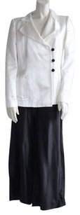Giorgio Armani Giorgio Armani White Black Silk Evening Occasion 2pc Pant Suit 428 Hs2206