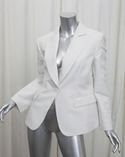 Giorgio Armani Giorgio Armani Womens White Cottonsilk Single-button Blazer Jacket 386