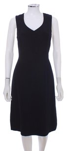 Giorgio Armani Silk Italian Leather Sculpted Trim Cocktail Day Wear Dress
