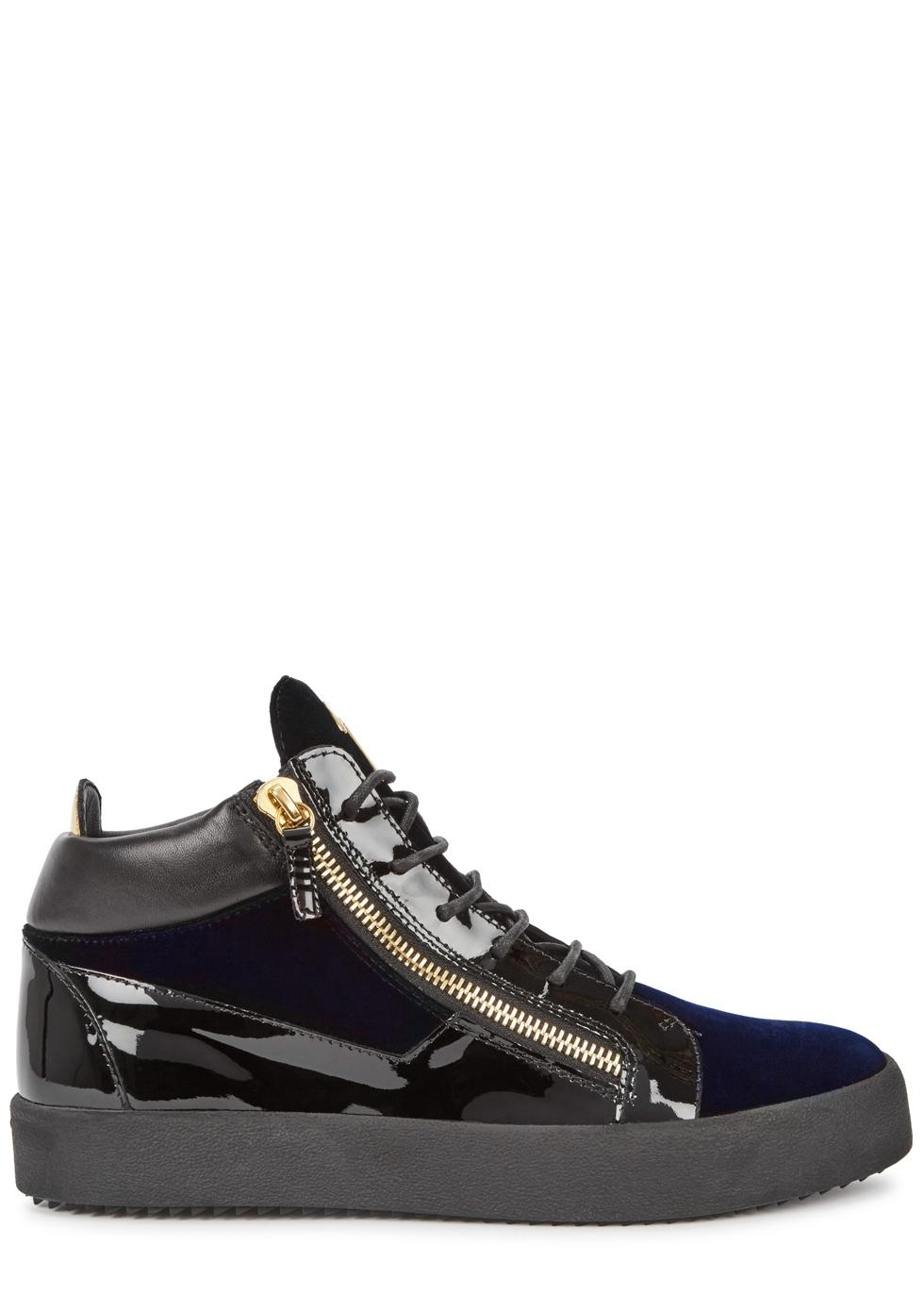 4fd9224f616c3 Giuseppe Zanotti Black / Navy Kriss Velvet and Patent Leather Sneakers  Sneakers Size EU 39.5 (