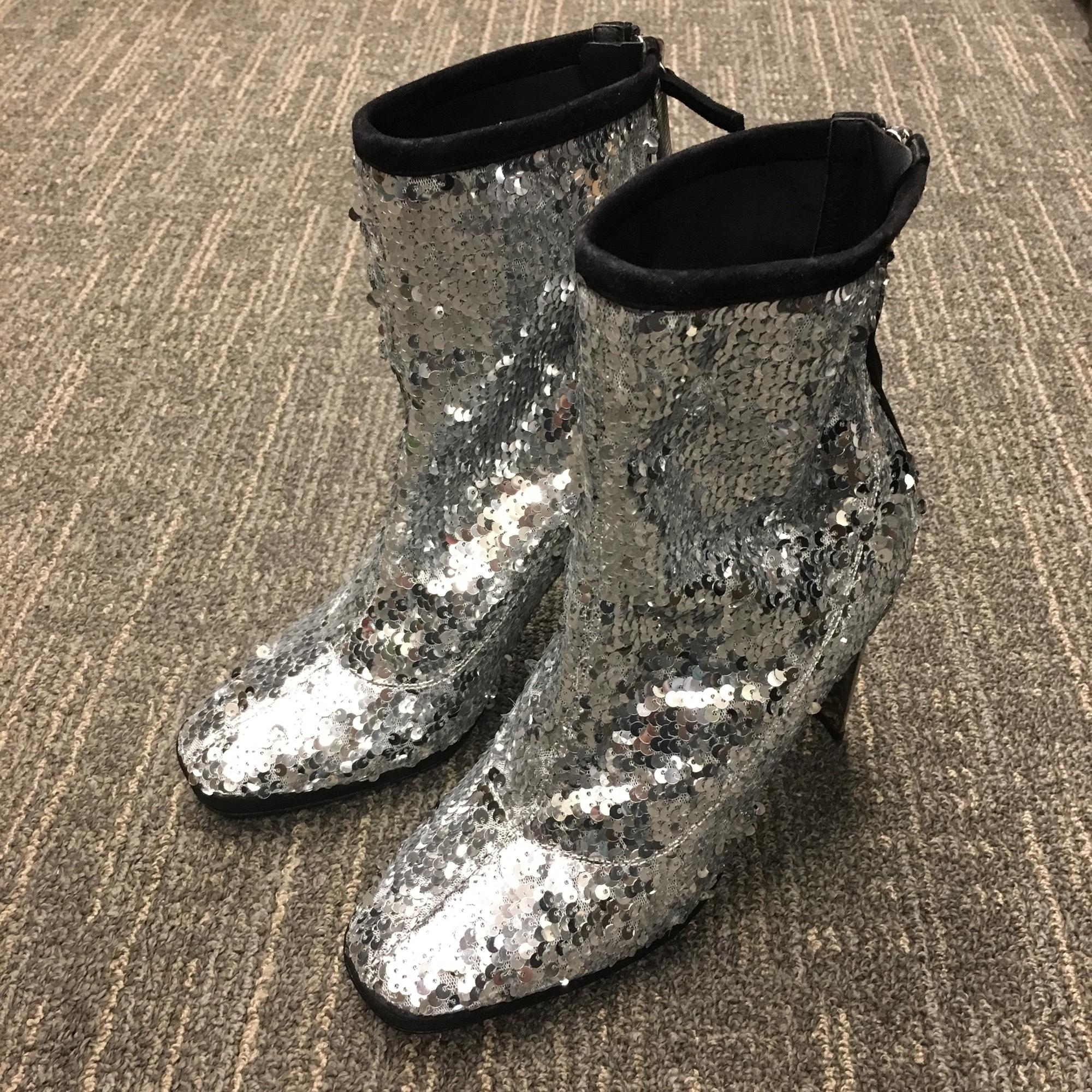 72190e79a22 ... Giuseppe Zanotti Silver Stretch Sequin 105mm Metallic Heel Boots Booties  Boots Booties Boots  ...
