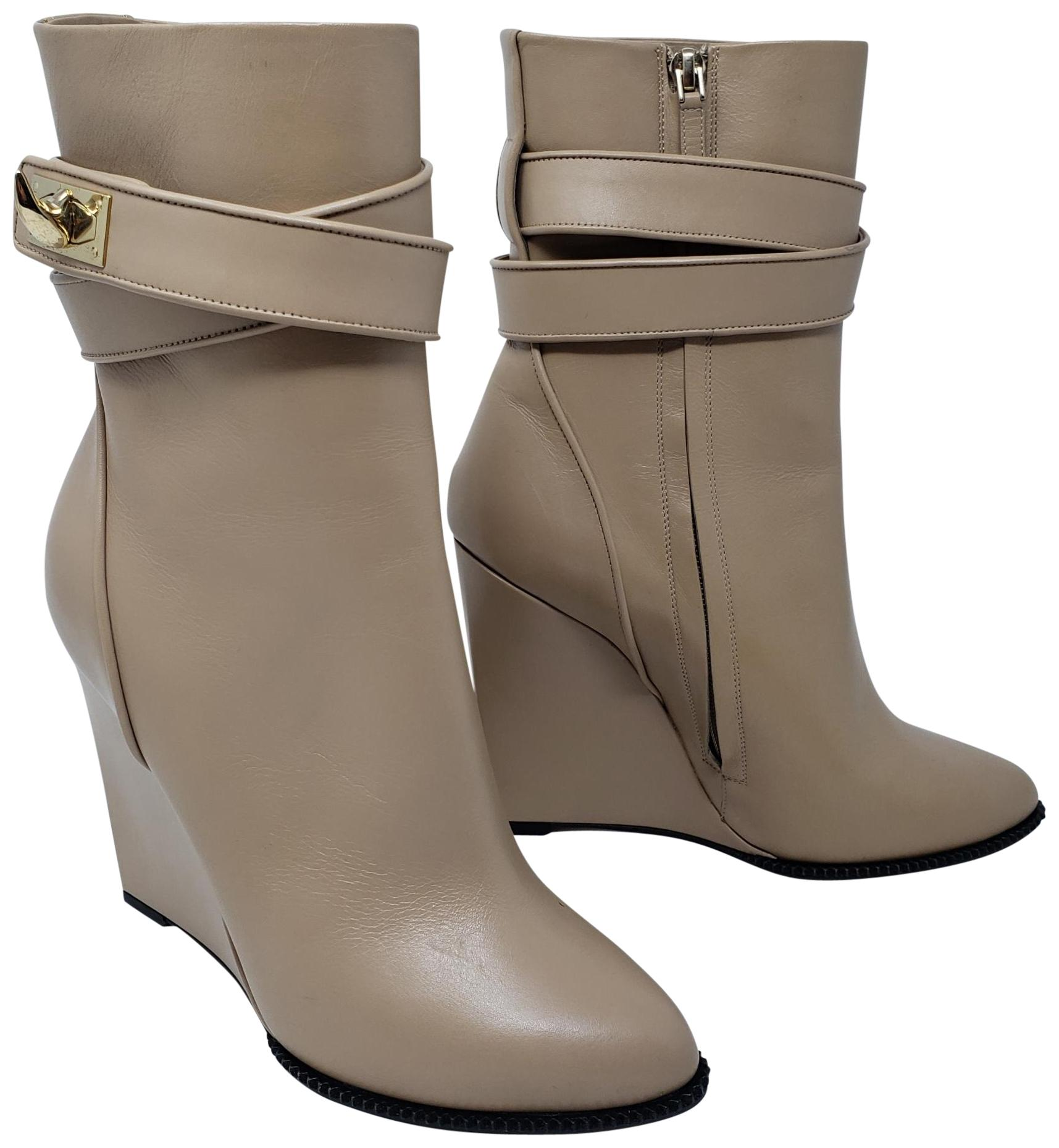 846822c5a2a Givenchy Beige Gold Gold Gold Tan Leather Pointed-toe Mid-calf Boots Booties
