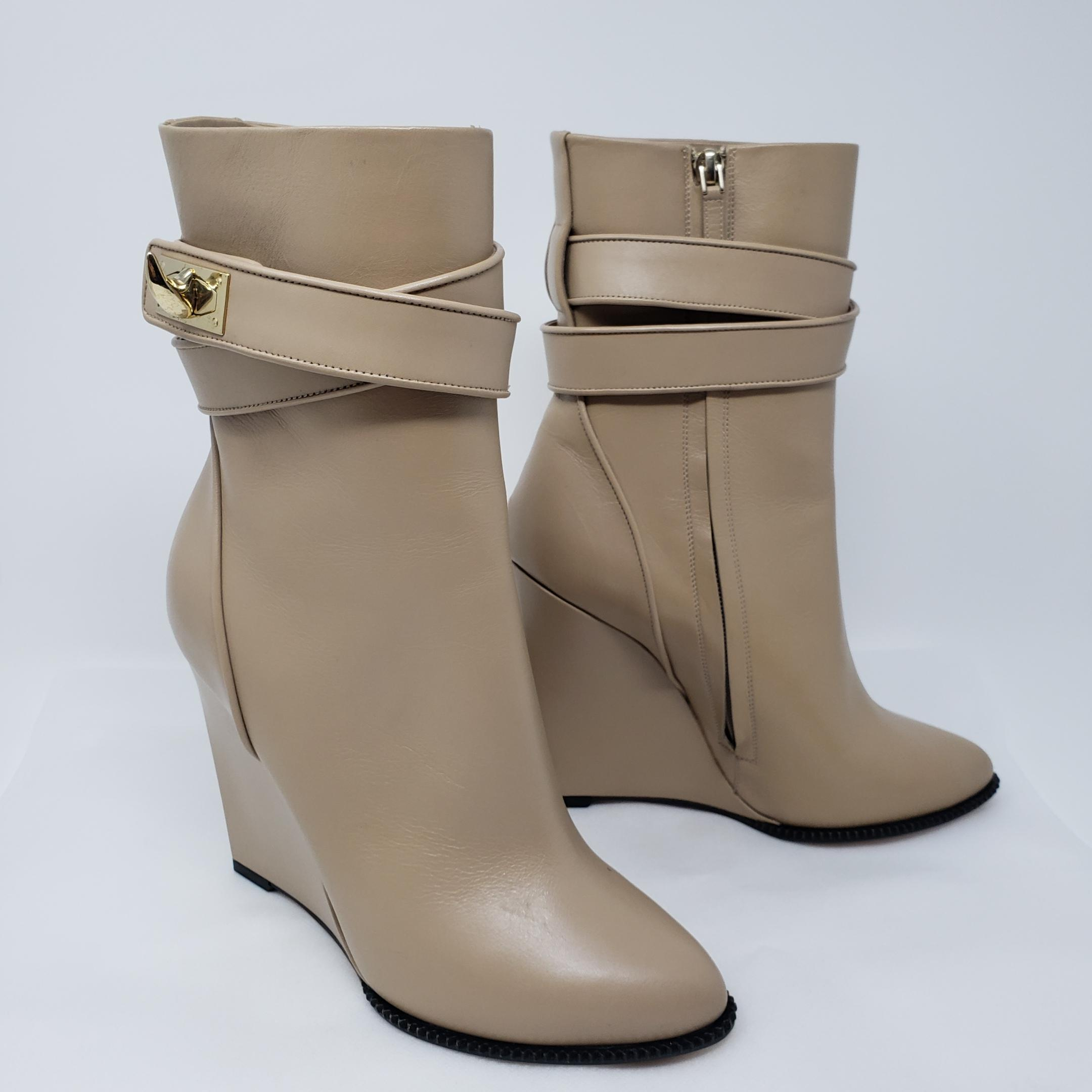 d5bdd56b3ac ... Givenchy Beige Gold Gold Gold Tan Leather Pointed-toe Mid-calf  Boots Booties ...