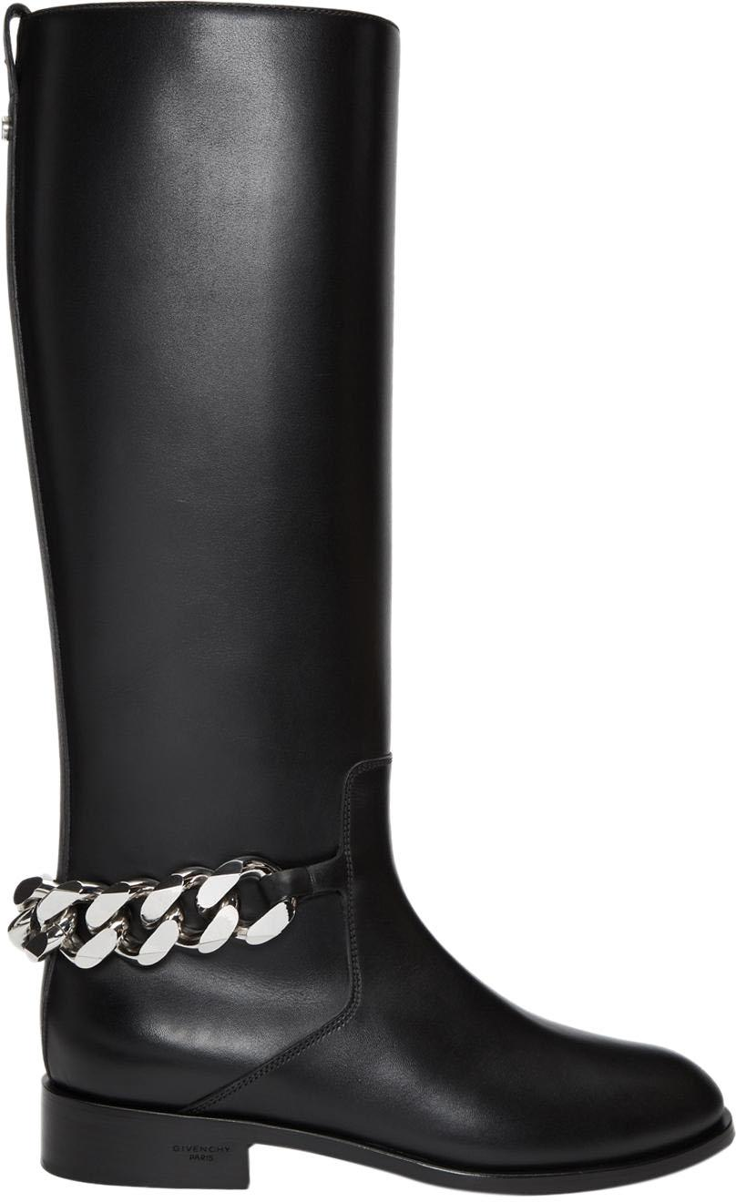 Givenchy Black Chain Knee High Boots/Booties Size EU 38 (Approx. US 8) Regular (M, B)