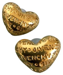 Givenchy GIVENCHY Carved LOGO Signed Modernist HEART Gold Metal Big Pierced Earrings Vintage Rare Designer Runway Couture Love Valentine Chic France