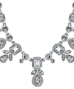 Givenchy Givenchy Silver-Tone Multi-Crystal and Pave Collar Necklace