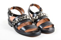 Givenchy Leather Silver Black Sandals