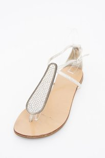 Givenchy Giuseppe Zanotti Ivory Leather Crystal Studded Thong Flat White Sandals