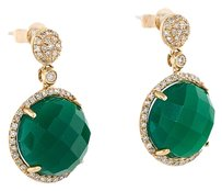11.38CTW AGATE AND DIAMOND DROP EARRINGS