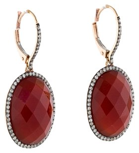 17.50CTW AGATE AND DIAMOND EARRINGS