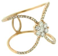 GLK 14K ROSE GOLD 0.50CT DIAMOND DOUBLE BAND FLOWER RING SIZE 7
