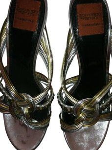 Goffredo Fantini Brand New Sandals! Euro Size 40 U.s. Size 9. Leather Silver Multicolor-Silver, Copper, Bronze, Gold, Pewter, and Rose Gold Platforms
