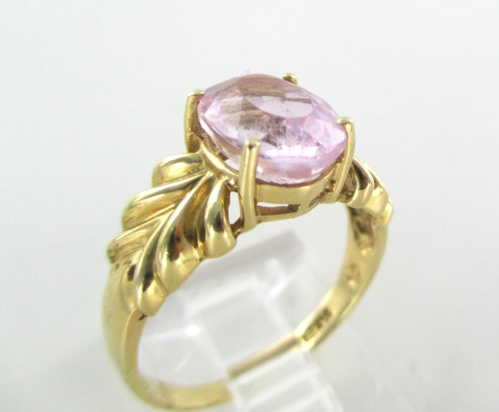 Gold 14k Solid Yellow Pink Stone Engagement Wedding Band Hallmark