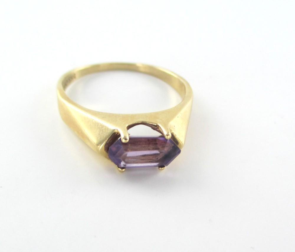 Gold 14k Yellow Purple Stone Designer 9 Wedding Band Engagement