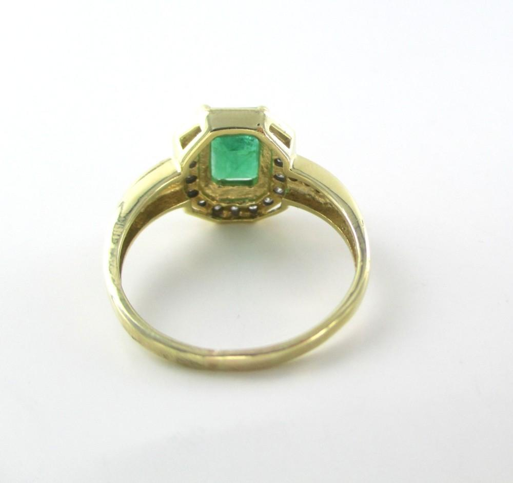 Gold 14kt Solid Yellow Earrings Ring Emerald Diamond Set Lot