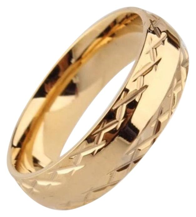 Gold 6mm Wedding For Men Women Pattern Stainless Steel Couple Ring