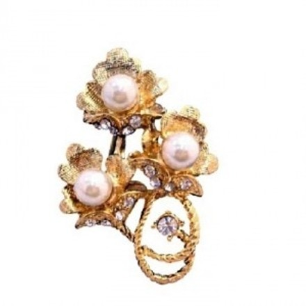 Gold Ivory Flower Bouquet Decorated Pearls Cubic Zircon Brooch/Pin