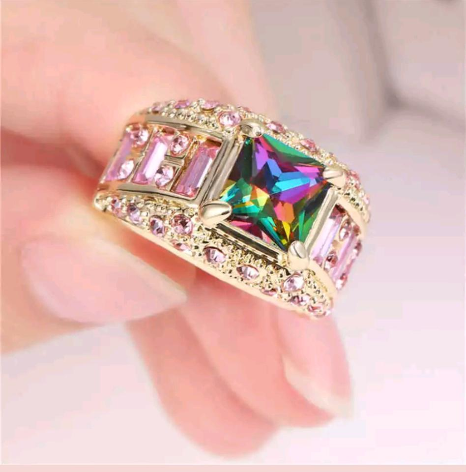 Gold Tone Pink & Rainbow Exquisite Statement Mystic Ring - Tradesy