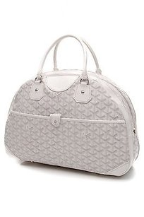 Goyard Chevron Coated Satchel in White