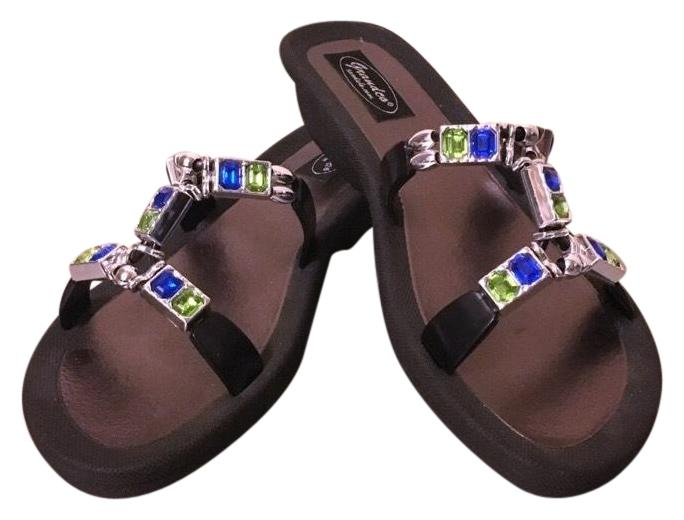 f8176b288d889a Grandco Black Silver Silver Silver Blue Green Jeweled Low Wedge Sandals Size  US 9 Regular ...