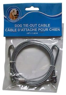 Greenbrier International Small Dog Braided Metal Shelter Kennel Indoor Outdoor Tie-Out Cable 6 ft. Silver