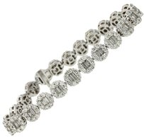 Greg Ruth Gregg Ruth Solid 18k White Gold 8.25ctw Round and Baugette Diamond Floral Cluster Tennis Bracelet