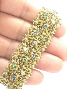 Gubelin Gubelin,18kt,Gem,Emerald,Sapphire,Diamond,Yellow,Gold,Wide,Bracelet,2.40ct