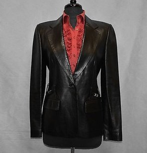 Gucci 100 Gucci Leather Black Blazer Jacket Italy