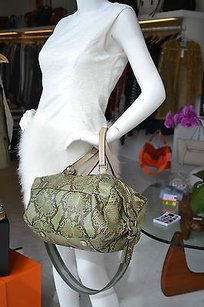 Gucci Olive Green Python Tote