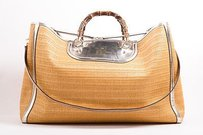 Gucci Tan Gold Metallic Trim Tote in Beige
