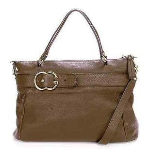 Gucci Pebbled Calfskin Leather Ride Tote in Brown
