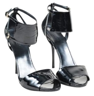 Gucci Patent Leather Wide Ankle Strap Open Toe Heeled Black Sandals