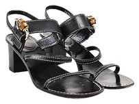 Gucci Leather Buckle Black Sandals