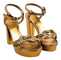 Gucci Tone Leather Ankle Gold Sandals