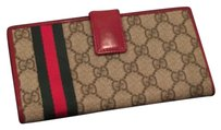 Gucci Authentic Gucci Beige/Ebony GG Supreme Canvas with Red Leather