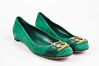 Gucci Suede Gold Gg Green Flats