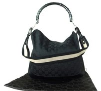 Gucci Bamboo Canvas Leather Shoulder Bag