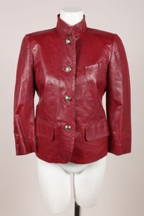 Gucci Dark Red Leather Ribbon Jacket
