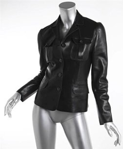 Gucci Womens Black Leather Jacket