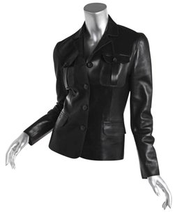 Gucci Womens Black Leather Cargo Blazer Coat 404 Jacket