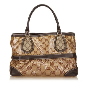 Gucci Beige Brown Canvas Tote