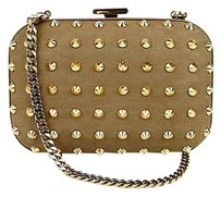Gucci Broadway Leather Studded Evening Brown Clutch