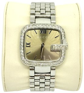 Gucci 0.88 Carat Diamond Stainless S Brown Dial Female Watch 125.4-YA125414