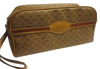 Gucci Mint Vintage Multiple Compartment Cosmetic Shaving Kit Rare Versatile Style coated canvas/leather in browns with red/green Clutch