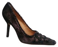 Gucci Dark Grey Velvet with Anthracite Stone & Sequin Embellishment Pumps