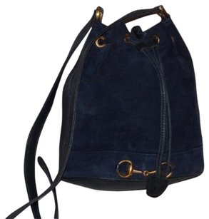 Gucci Early Suede And Leather Satchel in navy blue