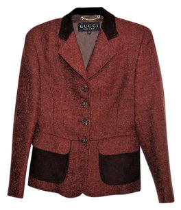 Gucci Elegant Classic Red and Brown Blazer