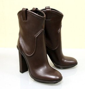 Gucci Runway Leather Platform Brown Boots