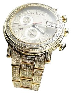 Gucci Fully Iced Out Mens Ct Diamond Gold Finish Gucci Ya101312 Watch Custom